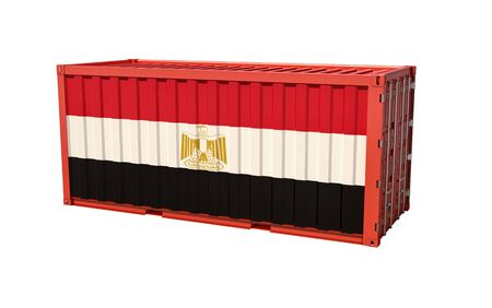 Shipping container with Egypt flag - 3D rendering