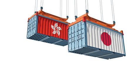 Freight containers with Hong Kong and Japan flag. 3D rendering