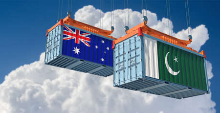 Freight containers with Pakistan and Australian flag. 3D rendering 写真素材