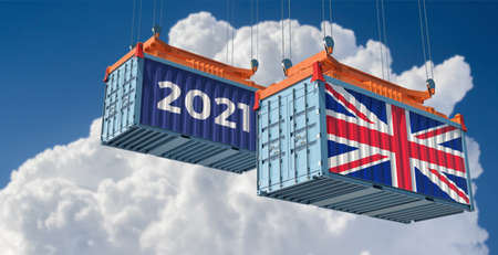 Trading 2021. Freight container with United Kingdom flag. 3D rendering