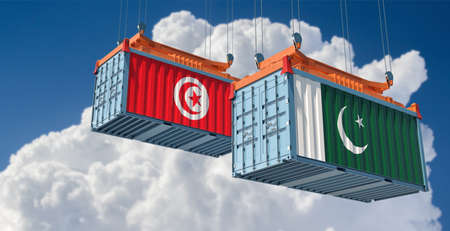 Freight containers with Pakistan and Tunisia flag. 3D rendering