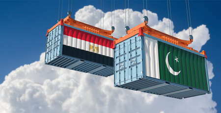 Freight containers with Pakistan and Egypt flag. 3D rendering 写真素材