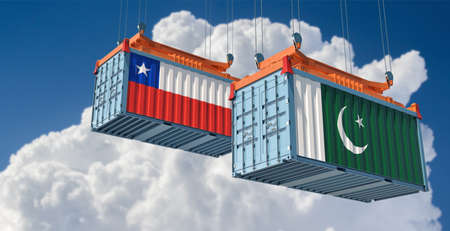 Freight containers with Pakistan and Chile flag. 3D rendering