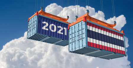 Trading 2021. Freight container with Thailand flag. 3D rendering
