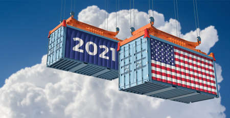 Trading 2021. Freight container with USA flag. 3D rendering
