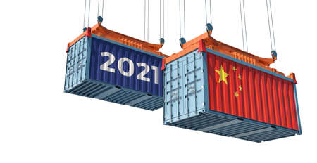 Trading 2021. Freight container with China flag. 3D rendering
