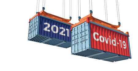 Container with Coronavirus Covid-19 text on the side. Concept of international trade spreading the virus. 3D rendering