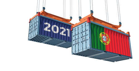 Trading 2021. Freight container with Portugal flag. 3D rendering 写真素材