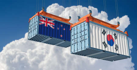 Freight containers with New Zealand and South Korea flag. 3D rendering