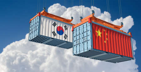 Freight containers with China and South Korea flag. 3D rendering 写真素材