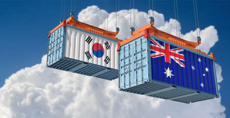 Freight containers with Australia and South Korea flag. 3D rendering Stock fotó