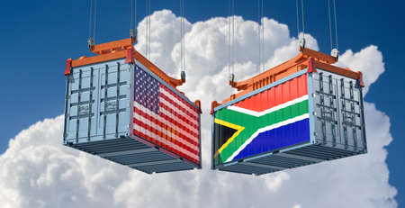 Freight containers with USA and South Africa national flags. 3D rendering