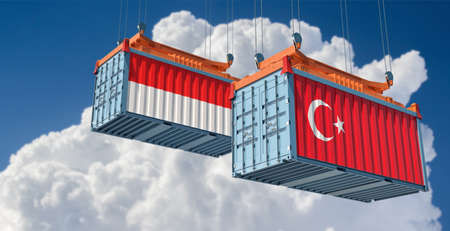 Freight containers with Turkey and Indonesia national flags. 3D Rendering