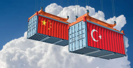 Freight containers with Turkey and China national flags. 3D Rendering 写真素材