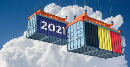 Trading 2021. Freight container with Belgium flag. 3D Rendering