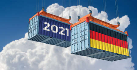 Trading 2021. Freight container with German flag. 3D Rendering
