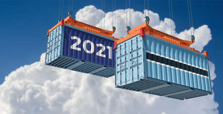 Trading 2021. Freight container with Botswana flag. 3D Rendering