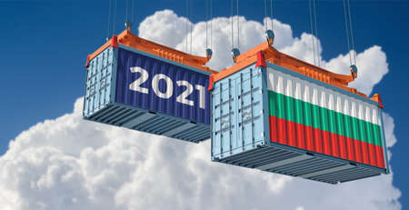 Trading 2021. Freight container with Bulgaria flag. 3D Rendering