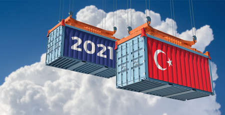 Trading 2021. Freight container with Turkey flag. 3D Rendering 写真素材