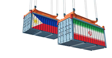 Freight containers with Iran and Philippine flag. 3D Rendering