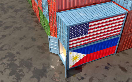 Freight containers with Philippines and USA flag. 3D Rendering 写真素材