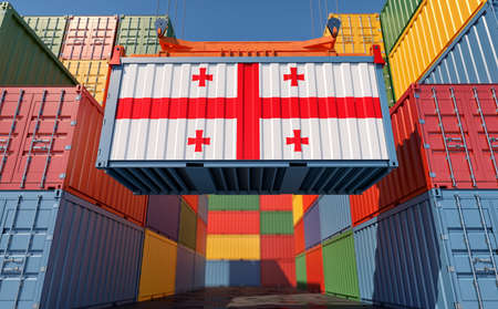 Container Terminal. Shipping Container with Georgia flag - 3D Rendering 写真素材