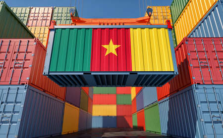 Container Terminal. Shipping Container with Cameroon flag - 3D Rendering