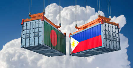 Freight containers with Bangladesh and Philippine flag. 3D Rendering