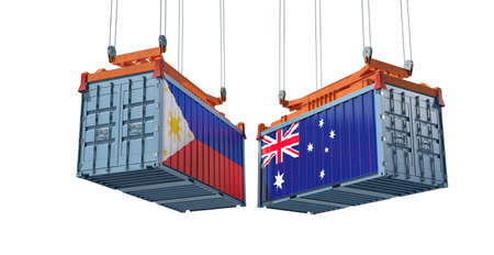 Freight containers with Australia and Philippine flag. 3D Rendering 写真素材