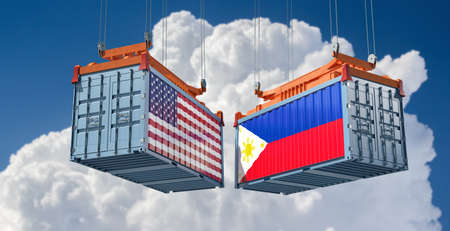 Freight containers with USA and Philippine flag. 3D Rendering
