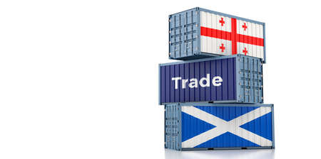 Freight containers with Georgia and Scotland flag. 3D Rendering 写真素材