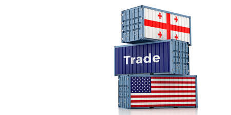 Freight containers with Georgia and USA flag. 3D Rendering