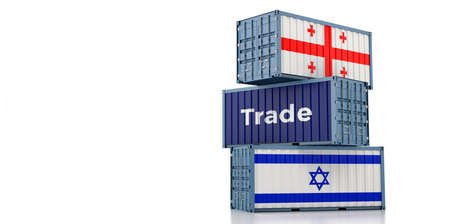 Freight containers with Georgia and Israel flag. 3D Rendering 写真素材