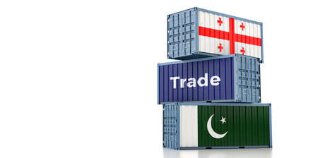 Freight containers with Georgia and Pakistan flag. 3D Rendering