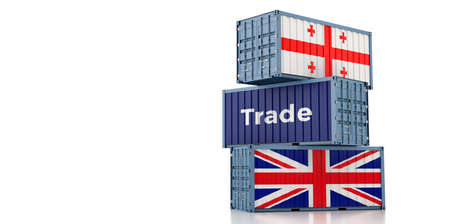 Freight containers with Georgia and United Kingdom flag. 3D Rendering