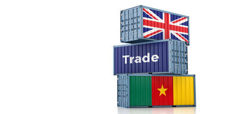 Freight containers with United Kingdom and Cameroon flag. 3D Rendering 写真素材