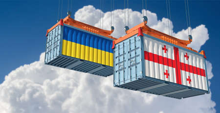 Freight containers with Georgia and Ukraine flag. 3D Rendering 写真素材