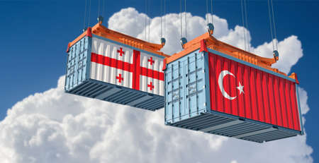 Freight containers with Georgia and Turkey flag. 3D Rendering