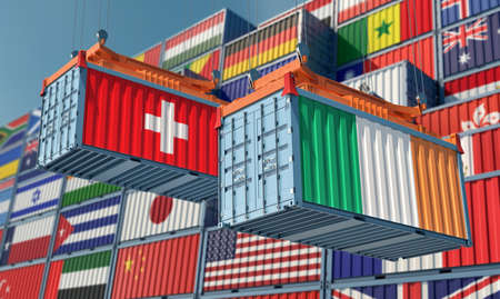 Freight containers with Ireland and Switzerland national flags. 3D rendering 写真素材
