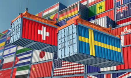 Freight containers with Sweden and Switzerland national flags. 3D rendering 写真素材
