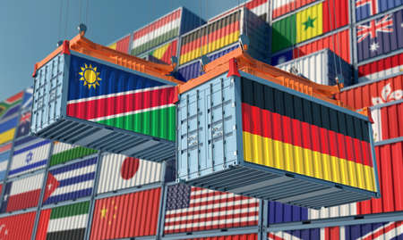 Freight containers with German and Namibia national flags. 3D rendering