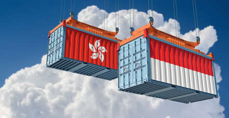 Freight containers with Indonesia and Hong Kong flags. 3D rendering