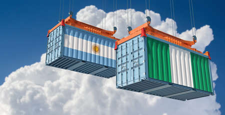 Freight containers with Argentina and Nigeria national flags. 3D rendering