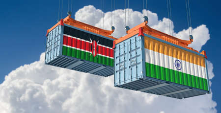 Freight containers with India and Kenya national flags. 3D rendering