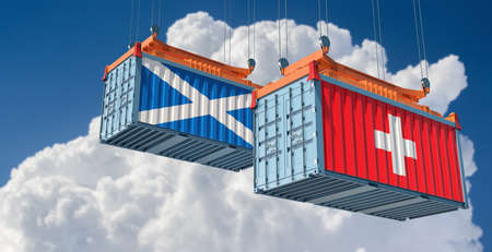 Freight containers with Scotland and Switzerland national flags. 3D rendering