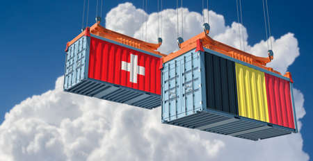 Freight containers with Belgium and Switzerland national flags. 3D rendering 写真素材