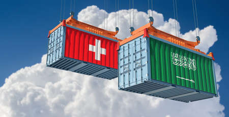 Freight containers with Saudi Arabia and Switzerland national flags. 3D rendering