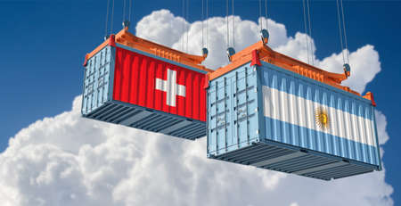 Freight containers with Argentina and Switzerland national flags. 3D rendering 写真素材