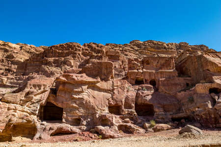 Tombs that could be seen when walking the scenery Street of Facades had been created hundreds of years. Petra complex tourist attraction, Hashemite Kingdom of Jordan 版權商用圖片
