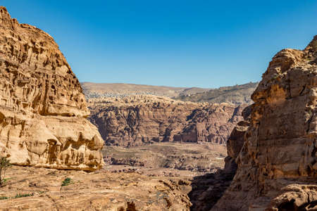 I have enjoyed the amazing views from the scenery Monastery Route, beautiful sunny day at Petra complex and tourist attraction, Hashemite Kingdom of Jordan